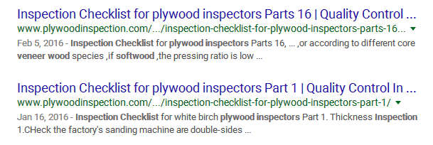 Inspection Checklist for plywood inspectors Parts 16
