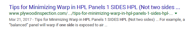 Tips for Minimizing Warp in HPL Panels 1 SIDES HPL