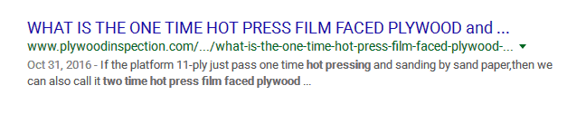 WHAT IS THE ONE TIME HOT PRESS FILM FACED PLYWOOD