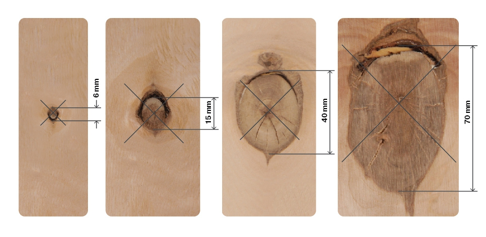 SVEZA Interior and Exterior Plywood grades Defects Part 24:Partially intergrown knot