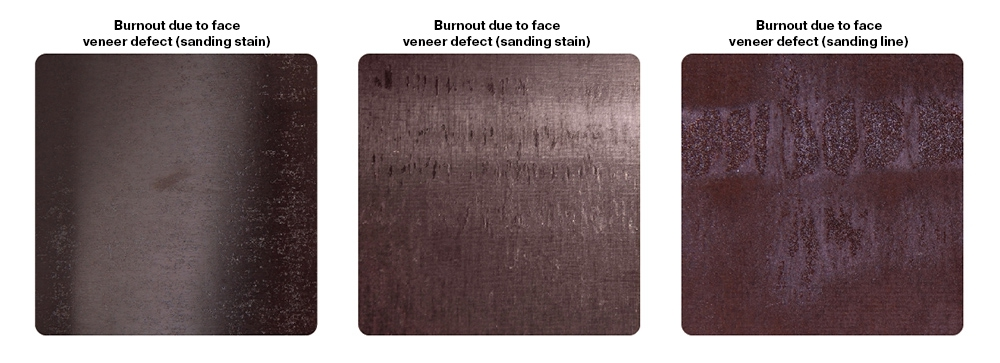 Burnt film (burnouts) due to face veneer defects: lines or stains due to sanding