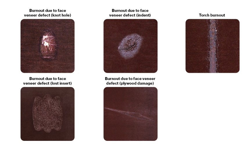 Burnt film (burnouts) due to face veneer defects: shakes, damage, knot holes